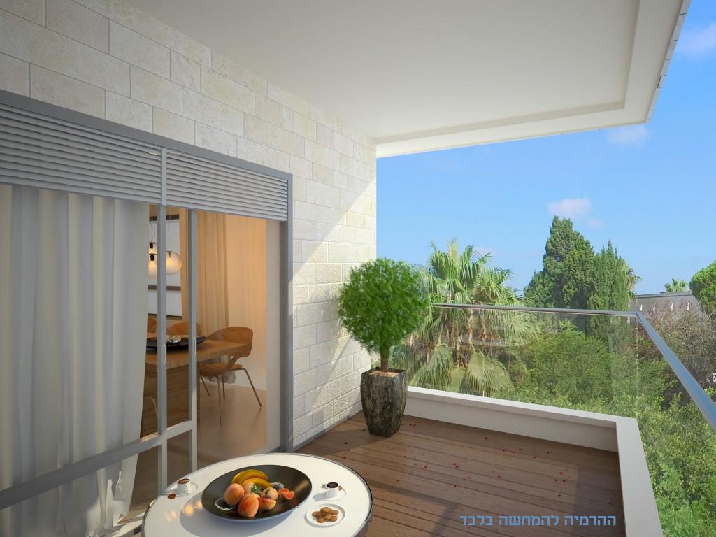 Aהדמיית נוף מרפסת דירה 3