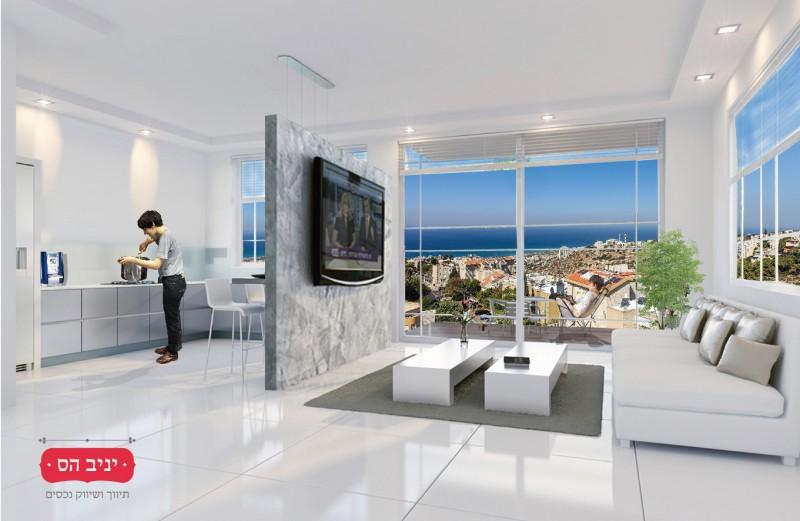 """פרויקט אלכסנדר ינאי 29, כרמליה. דירה 9, הקומה החמישית, 128 מ""""ר + מרפסת לנוף."""